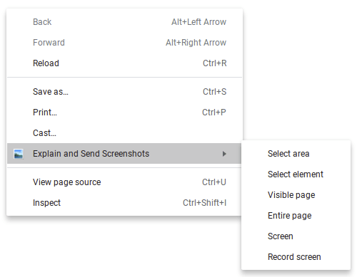 Explain and Send Screenshots Right-Click Menu