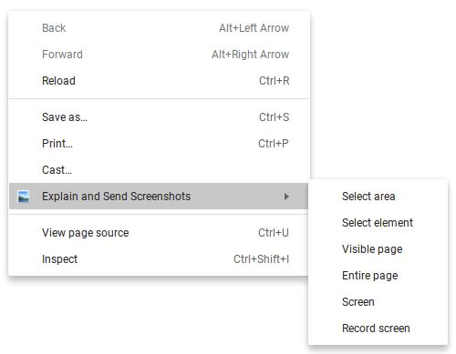 Explain and Send Screenshots Right-Click Menu