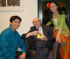 Mr. Zeigler is shown with Chee-Hang See [L] and Amy Tan [R], the piano duo that performed in honor of Mr. Zeigler's 101st birthday.