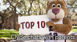 Clyde chats with parents
