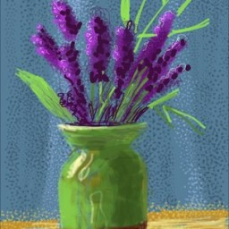 Hockney drawing of lavendar in a green vase with a brilliant blue background