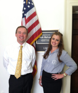 Political Science major, Kaitlin Foran and U.S. Representative Mick Mulvaney