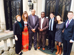 CofC students with Diplomats outside the Sudanese Embassy
