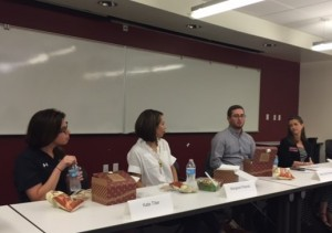 From left to right – Kate Tiller ('07), Margaret Pilarski ('07), Brady Quirk-Garvan ('08), and Meredith Gerber (CofC Career Center)