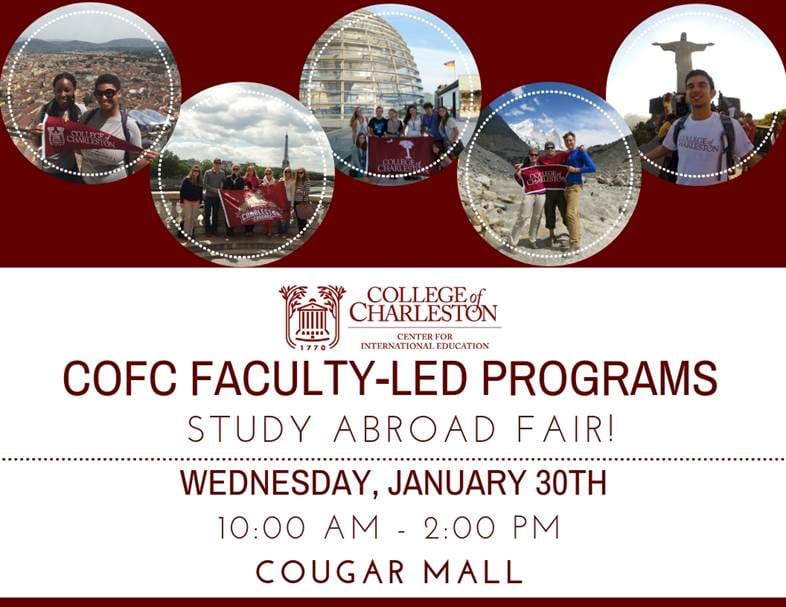 Flyer for Study Abroad Fair, Wednesday Jan 20 from 10 to 2 in Cougar Mall