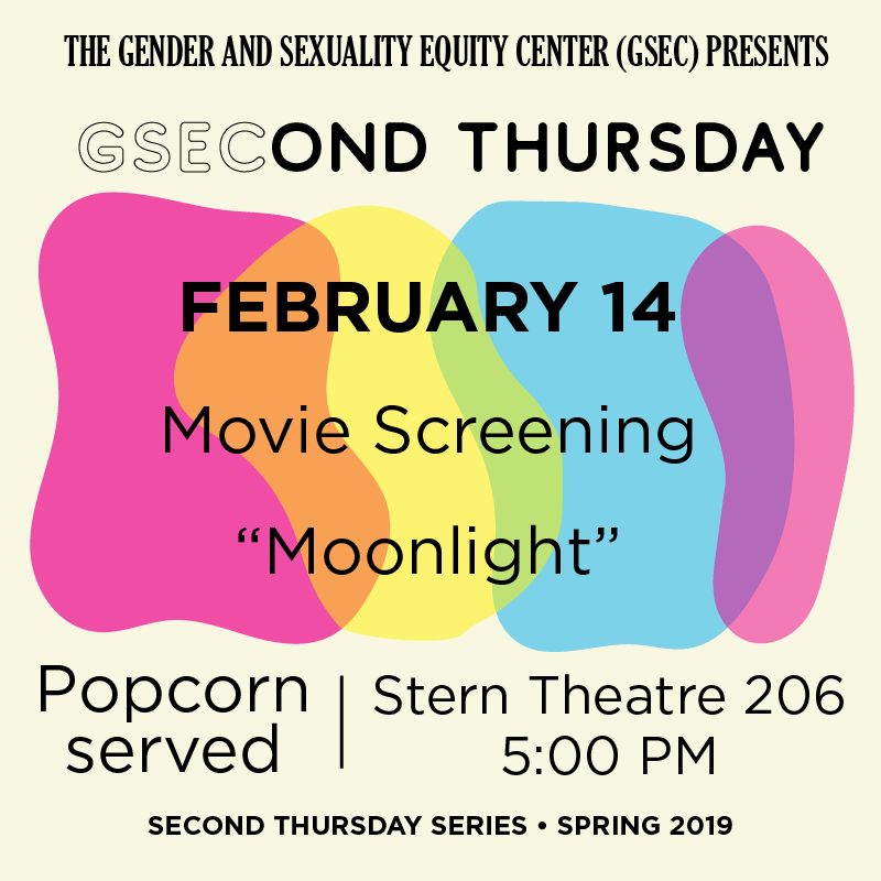 Moonlight movie screening, February 14 at the Stern Center Theatre at 5pm