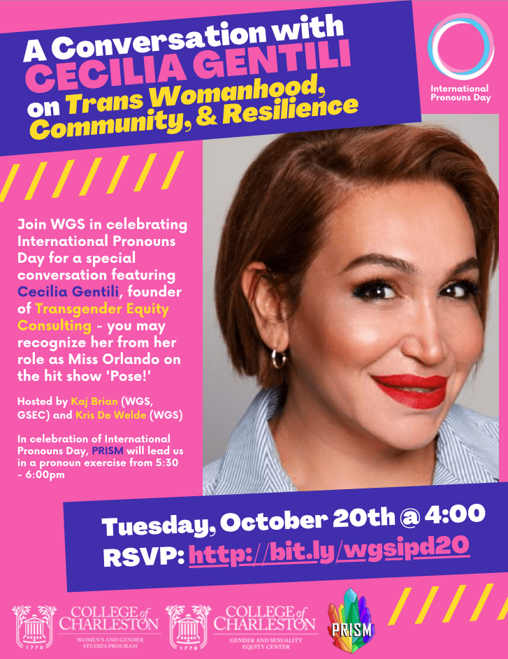 """Yellow, pink, and purple event flyer for """"A Conversation with Cecilia Gentili on Trans Womanhood, Community, & Resilience"""" with date, October 20th, and time, 4:00pm"""