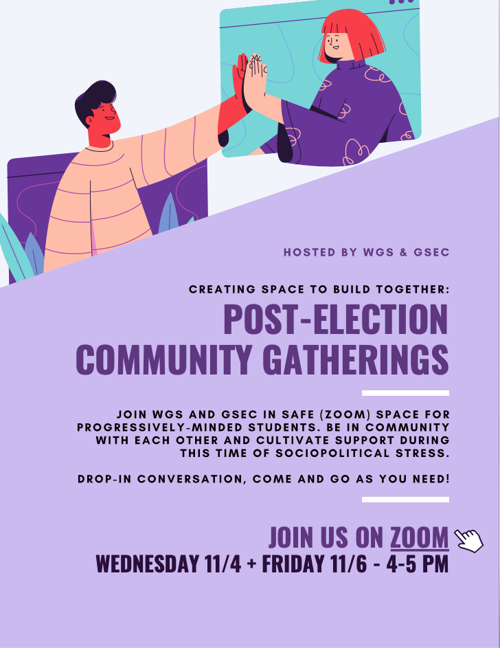 post-election gathering flyer - text reproduced below