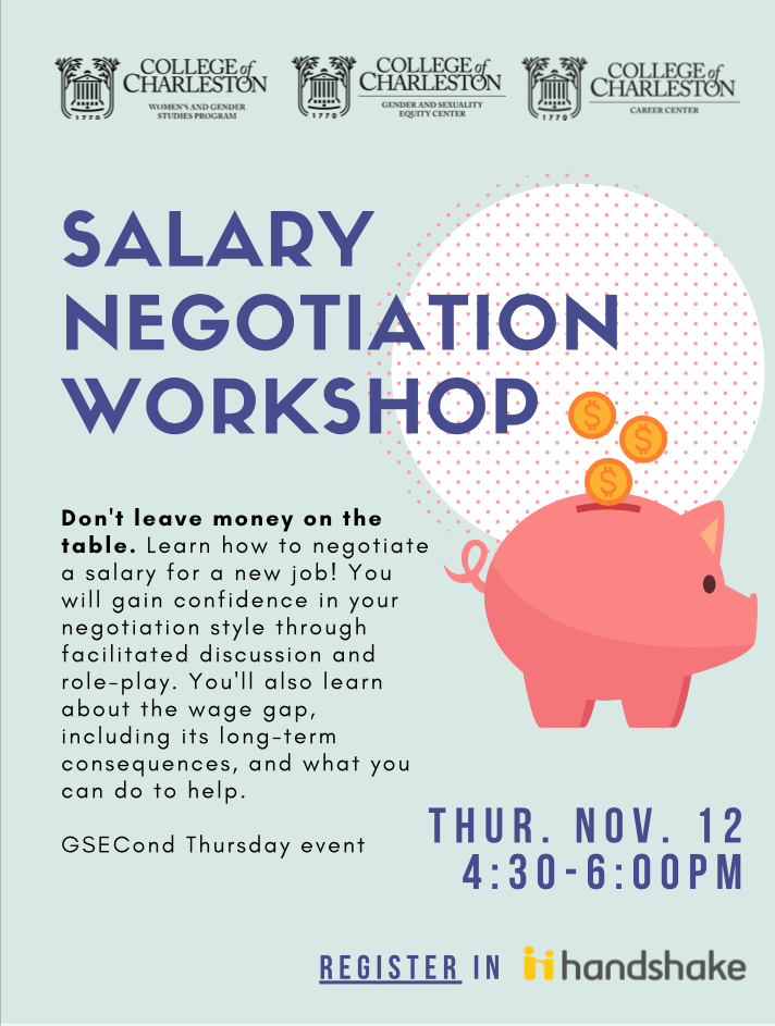 Salary Negotiation Flyer with piggy bank (text reproduced below)