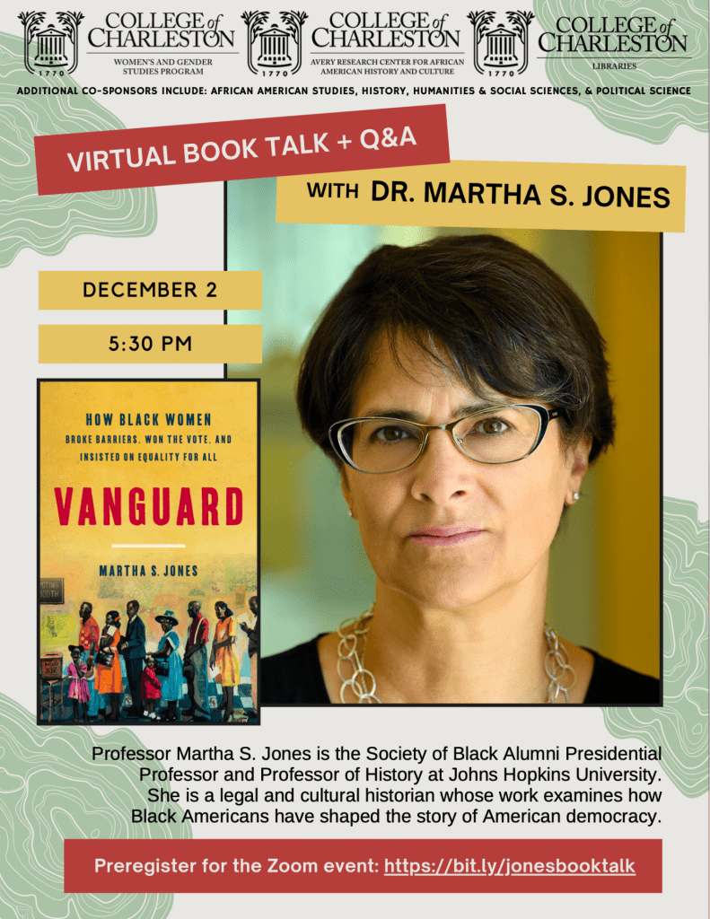 Book Talk flyer in red and yellow featuring photograph of author and cover of book (event details reproduced below)