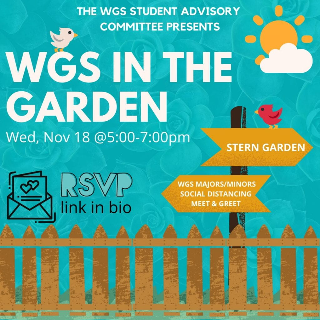 WGS in the Garden event flyer featuring a bright blue sky, picket fence, and birds - text reproduced below