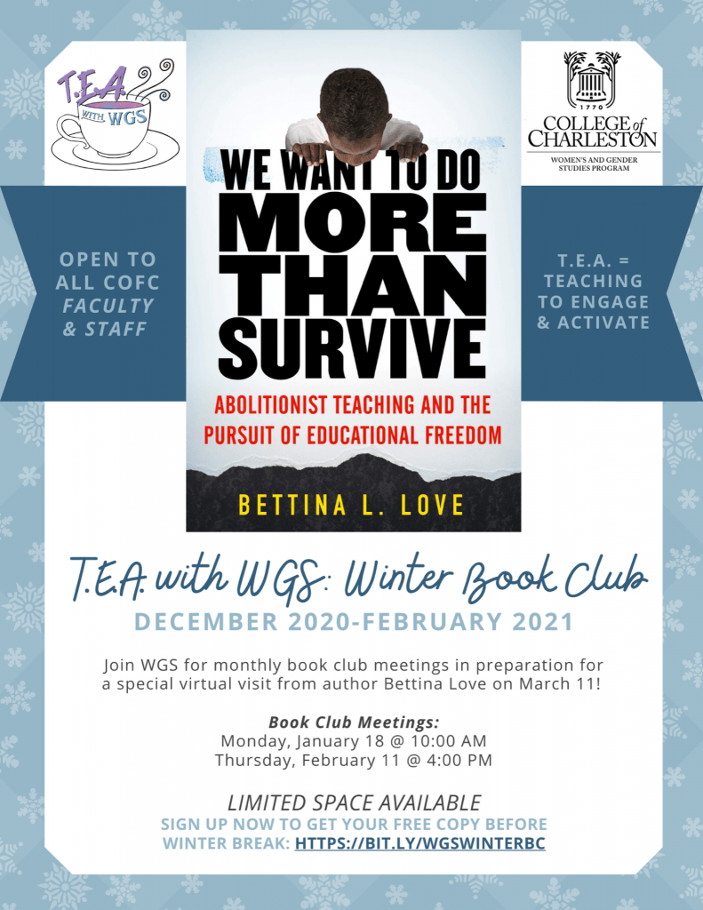 Winter-themed flyer for Bettina Love book club - text reproduced below.