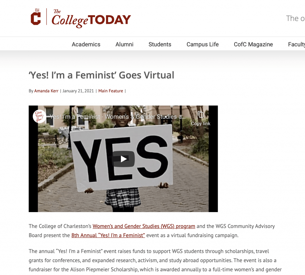 """Screenshot of College Today article titled """"Yes! i'm a Feminist Goes Virtual"""""""