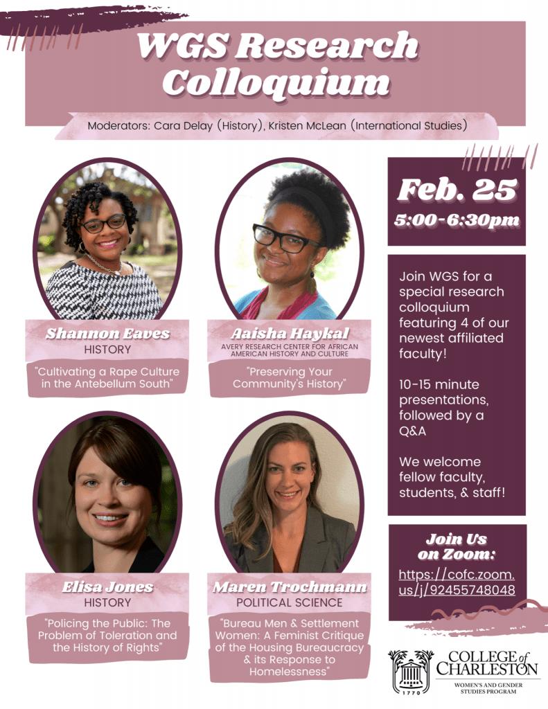 colloquium flyer featuring pictures of speakers