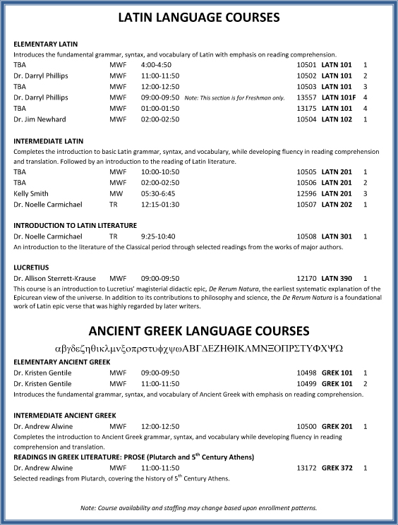 Fall 2013 Latin and Greek Language Courses