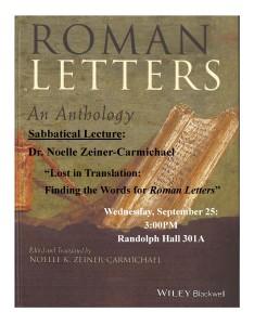 Sabbtical talk.Letters