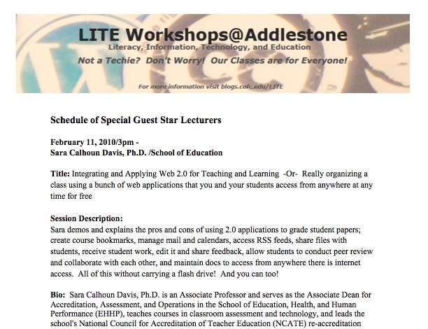 Spring 2010 LITE Schedule
