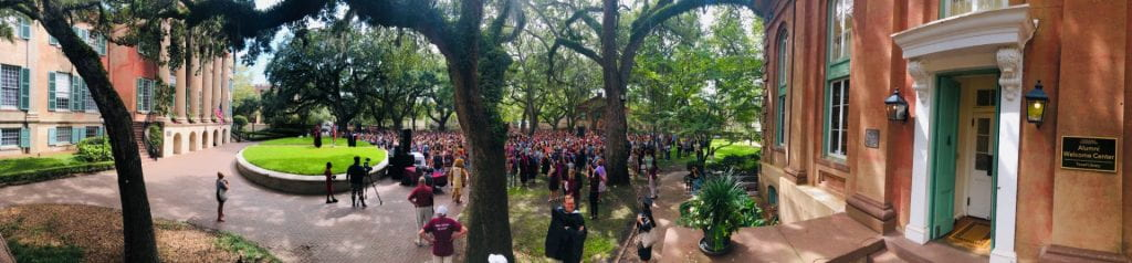 Panoramic photo of Cistern Yard during Convocation 2019
