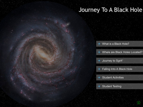 Opening screen of Journey to a black hole app