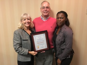 GBRC Director Rene Mueller and Global Studies Education Coordinator Cantrelle Gilliard with Pat Fosberry, CBFFAC Education Committee Chairperson
