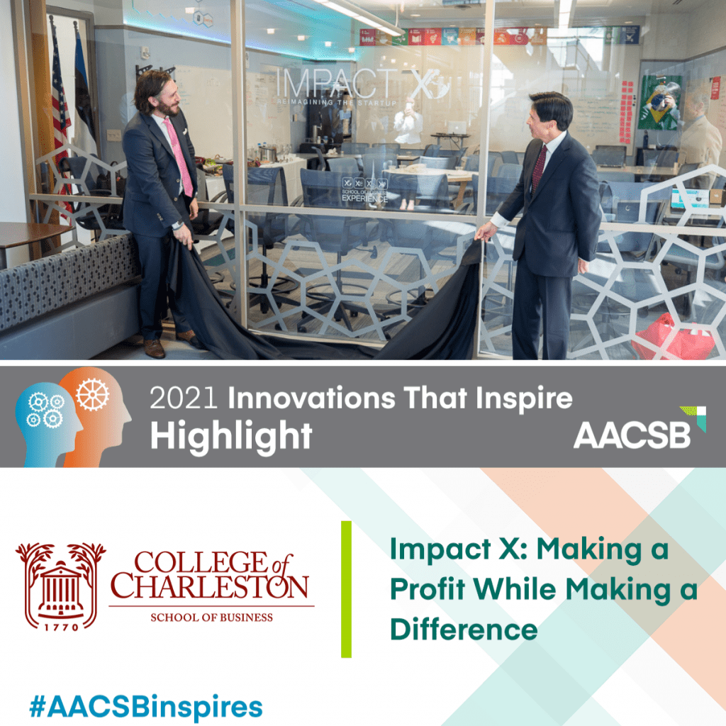 Dean Alan Shao and guest speaker unveiling new Impact X window decal at the College of Charleston School of Business