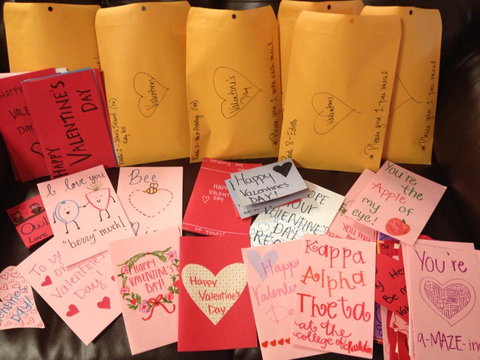 A variety of Valentine's Day cards for Charleston Area Seniors.