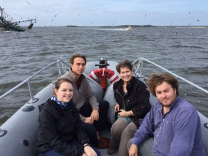 Left to right: Katie Joiner, Logan Elliot, Melinda Lucka, and Brendan Williams travel by ferry to Daufuskie Island.