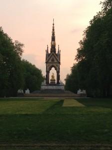 An evening walk in Hyde Park, a rosy sunset highlighting the Prince Albert Memorial.