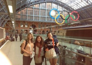 Kristin, Whitney, and Alexandra at St. Pancras Station in London