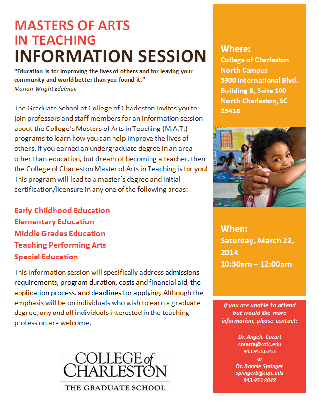 Master Of Arts In Teaching Information Session On Saturday