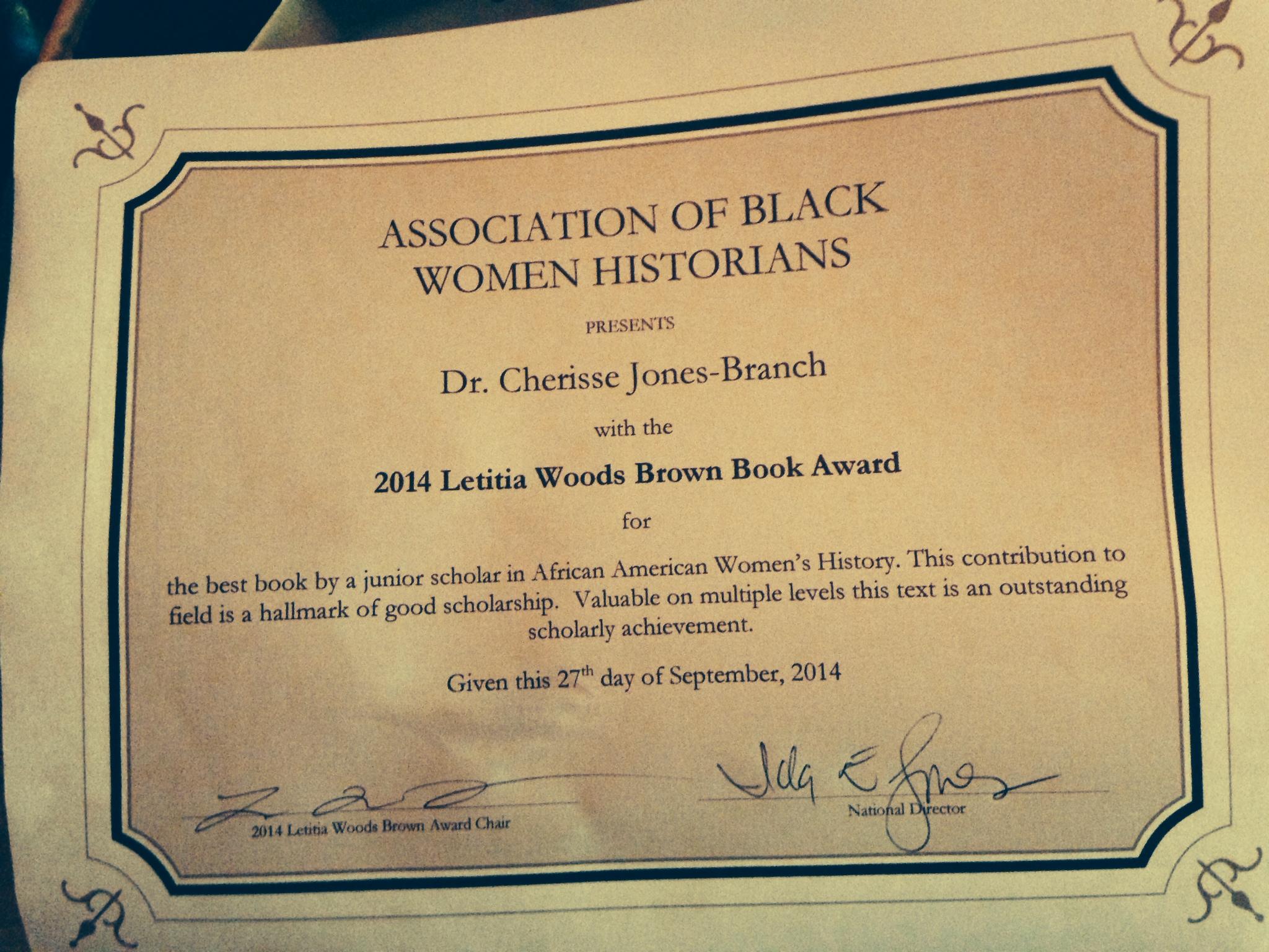 Association of Black Women Historians Letitia Woods Brown Book Award