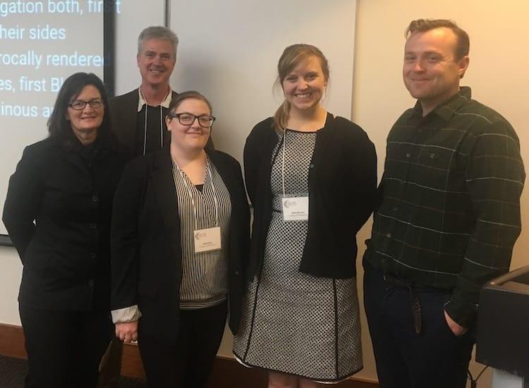 From left: Jennifer North (M.A.), Prof. Joe Kelly, Sarah Davis (M.A.), Jillian Brenner (M.F.A.), and Will Greene (M.F.A.)