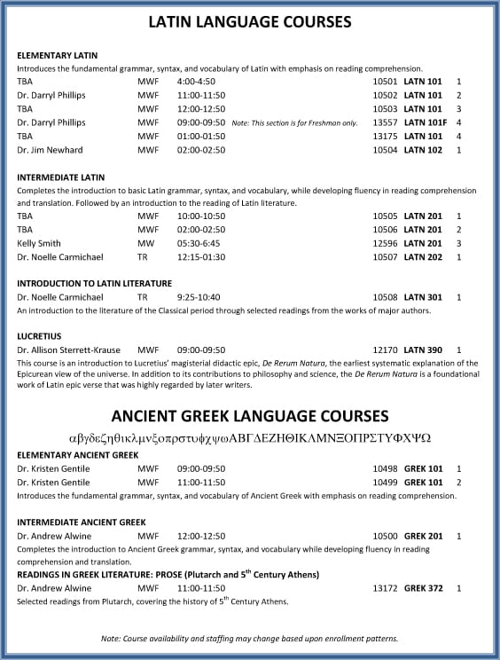 Fall 2013 Latin and Greek Language Courses
