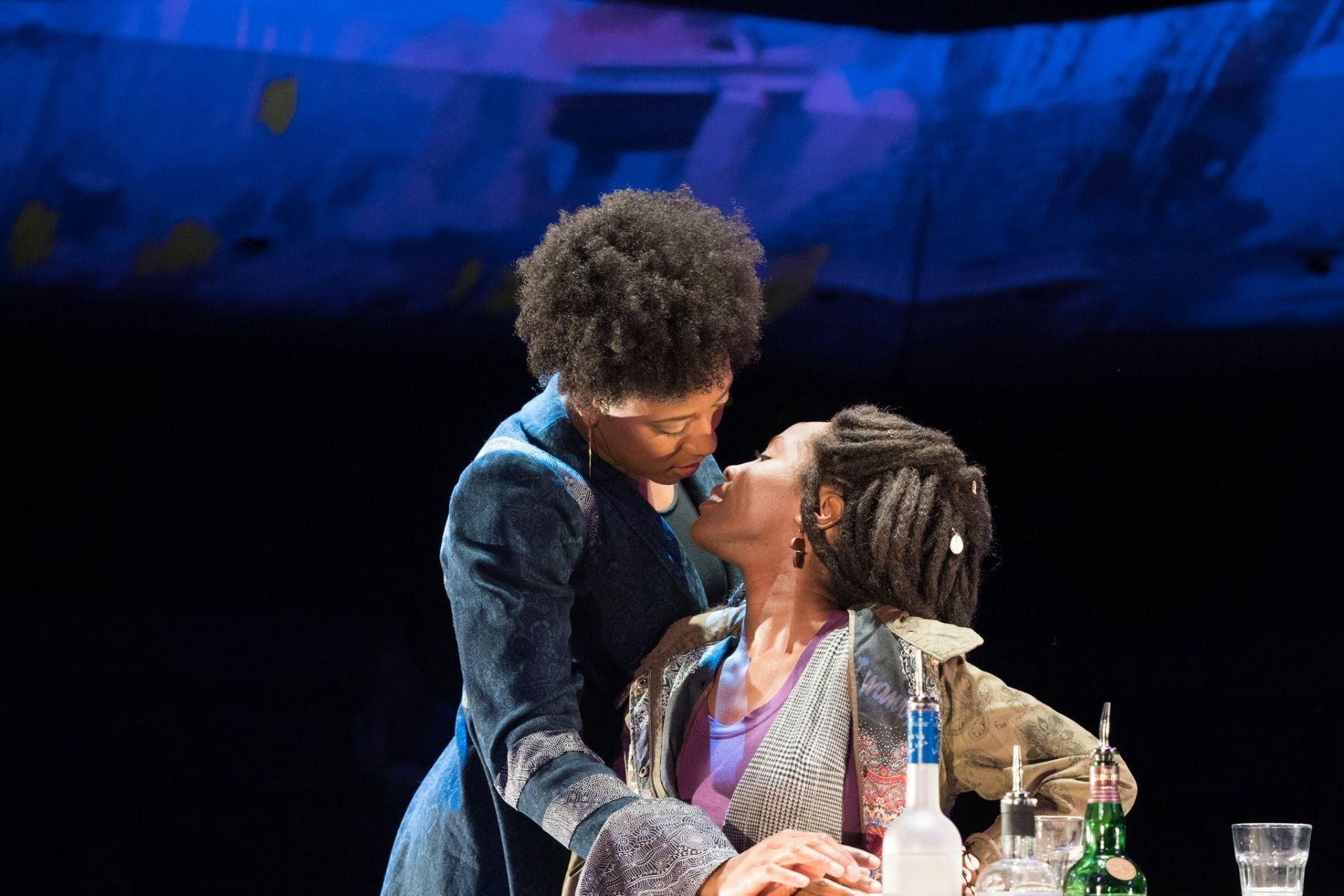"""Christiana Clark and Nubia Monks in the Oregon Shakespeare Festival's 2019 production of """"How to Catch Creation,"""" which featured intimacy direction."""