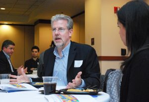 Terrence Mullen (MBA '85) answers a student's career questions.