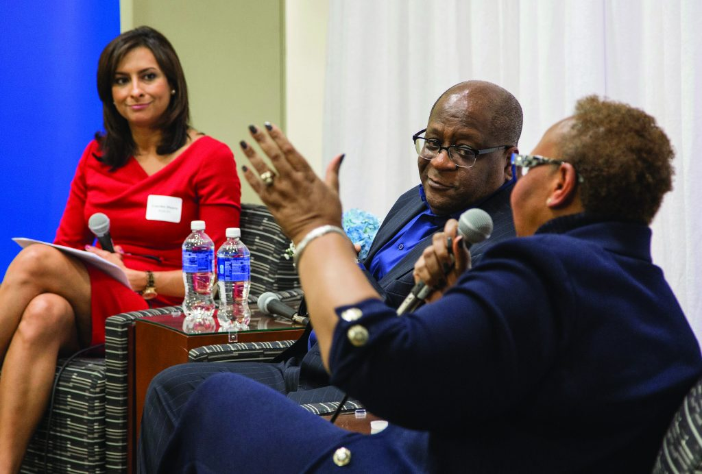 """WGN-TV Anchor <strong>Lourdes Duarte (CMN '99)</strong> moderated """"Celebrate Diversity in Driehaus,"""" a discussion of diversity in business, with chief diversity officers Greg Jones of United Airlines and Patricia Sowell Harris of McDonald's."""
