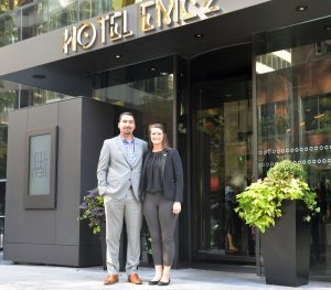 Alexander Foster, director of rooms and Allyson Murphy (BUS '15), front office manager at Hotel EMC2