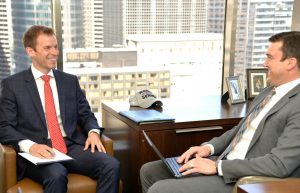 Dimitri Eliopoulos (BUS '01), managing director of Central Midwest, left, and Benjamin J. Albrecht, CFP, Vice President, Wealth Advisor at RMB Capital, right.