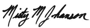 Misty Johanson signature