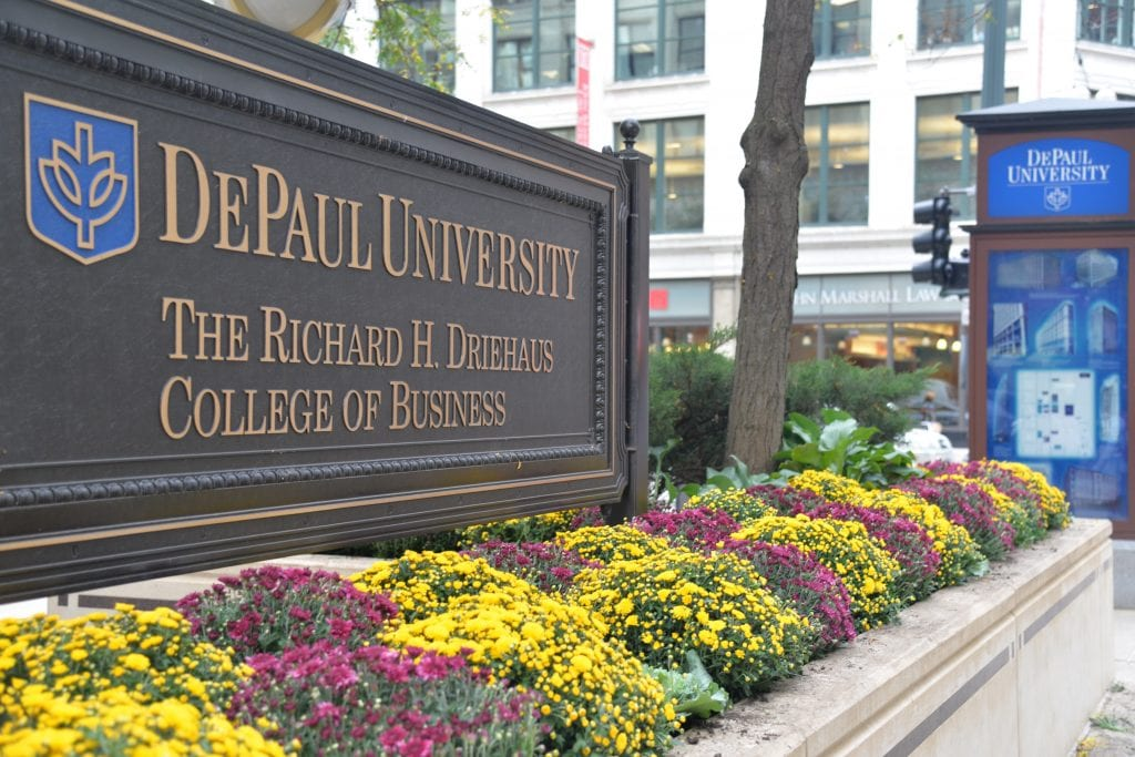 Driehaus College Business Loop campus sign