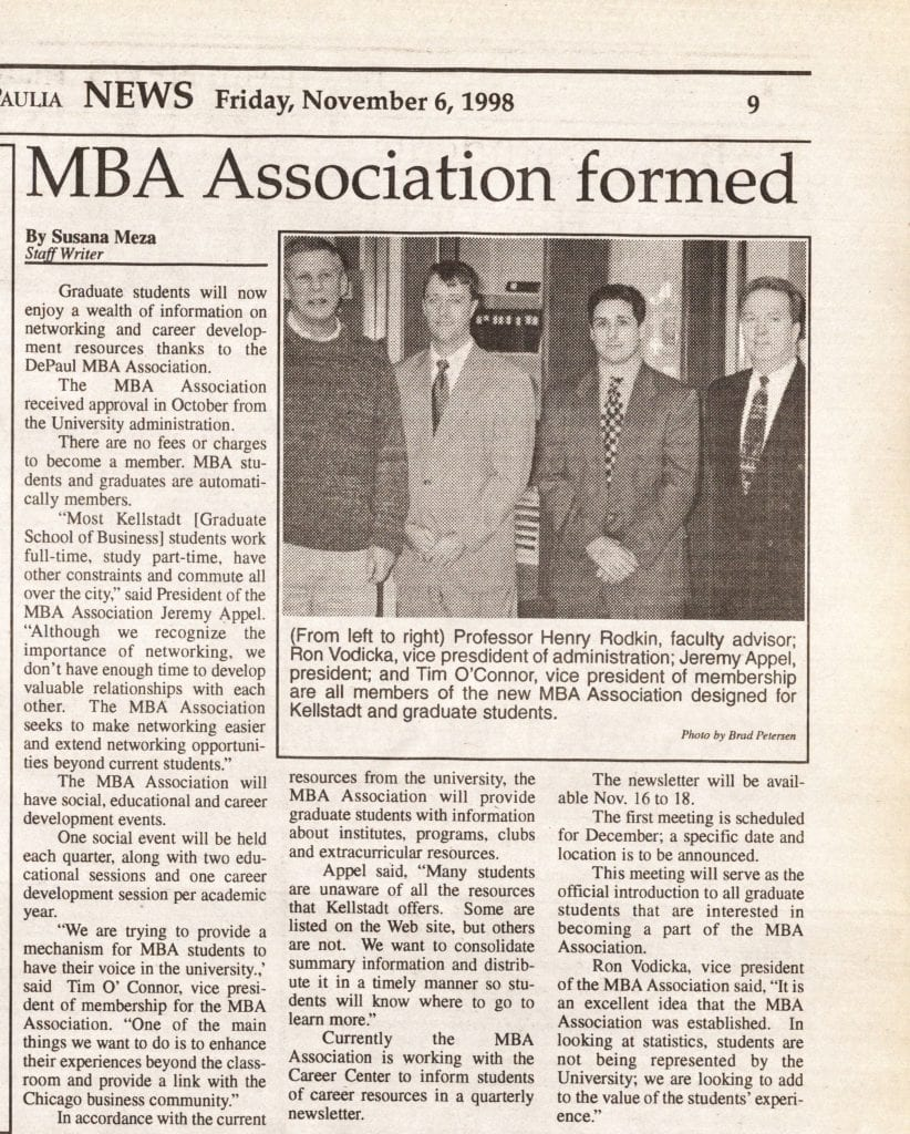 DePaul MBA Association newspaper clipping