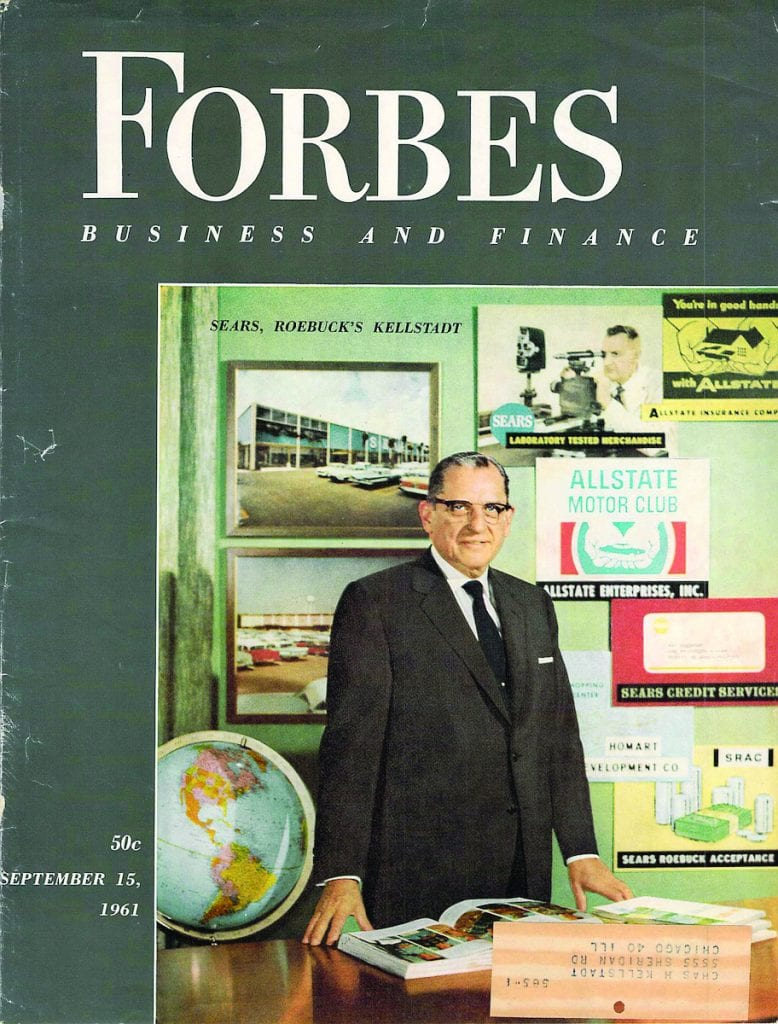 Charles H. Kellstadt on the cover of the 1961 Forbes issue.