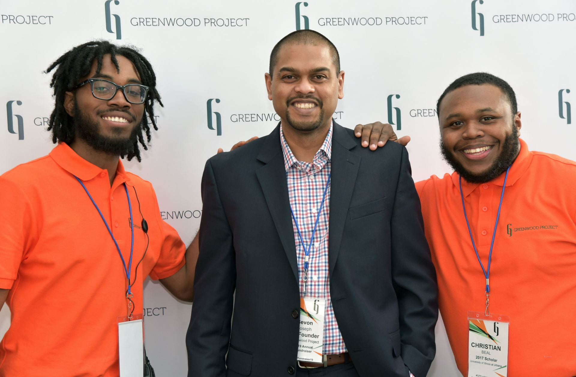 Bevon Joseph at annual Greenwood Project fundraiser, along with student participants