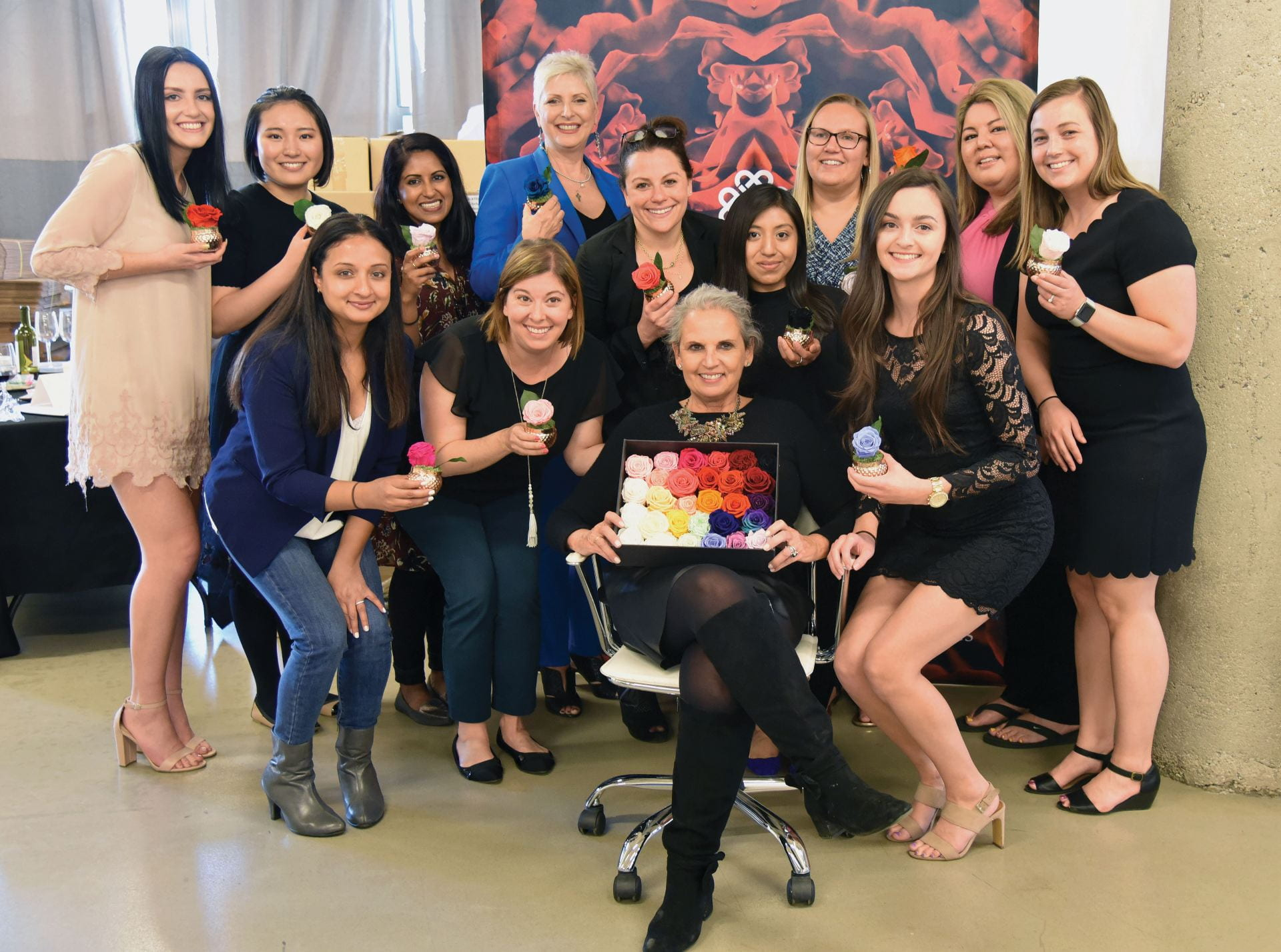 Shelley Rosen (seated in center) with DePaul students celebrating their completion of the Women Entrepreneurs special topics course.