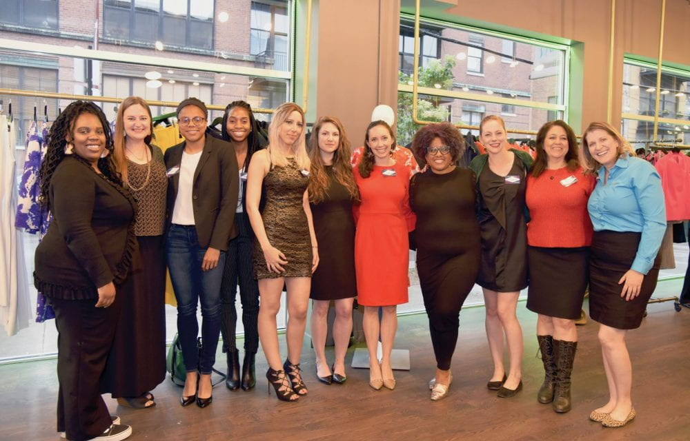 Women business founders in the first WEI accelerator cohort celebrate completing the program (left to right): Jennifer Spraggins (MBA '18), Melissa Ames, DePaul student Parker English, Margaret Bamgbose, Soumaya Yacoub, WEI director Abigail Ingram (LAS MA '15, JD '18), Elise Gelwicks, Nika Vaughn, Elizabeth Ames-Wollek (MBA '15), Nora Wall and Michelle Frame. Not pictured: Ariana Lee (BA '19)