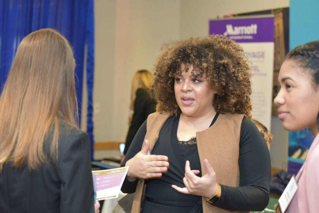"""Students learn about internships and full-time career options from industry representatives at the School of Hospitality Leadership's """"Branding Days."""""""