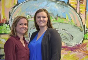 Emily Greenbaum (BUS '16), at left, with Kenzie Mocogni (BUS '19), at Verde Events in Chicago's West Loop.