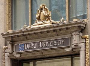 DePaul University Loop building sign