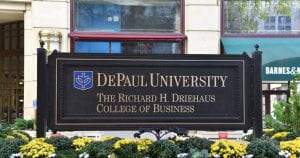 Driehaus College of Business sign