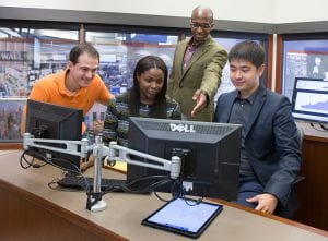 Students have access to Bloomberg Terminals in the business college's Christopher L. Keeley Finance Lab.